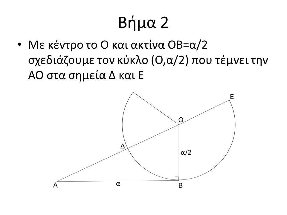 Βήμα 2 Με κέντρο το Ο και ακτίνα ΟΒ=α/2 σχεδιάζουμε τον κύκλο (Ο,α/2) που τέμνει την ΑΟ στα σημεία Δ και Ε.