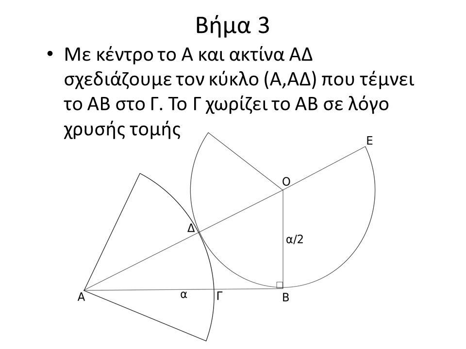Βήμα 3 Με κέντρο το Α και ακτίνα ΑΔ σχεδιάζουμε τον κύκλο (Α,ΑΔ) που τέμνει το ΑΒ στο Γ.