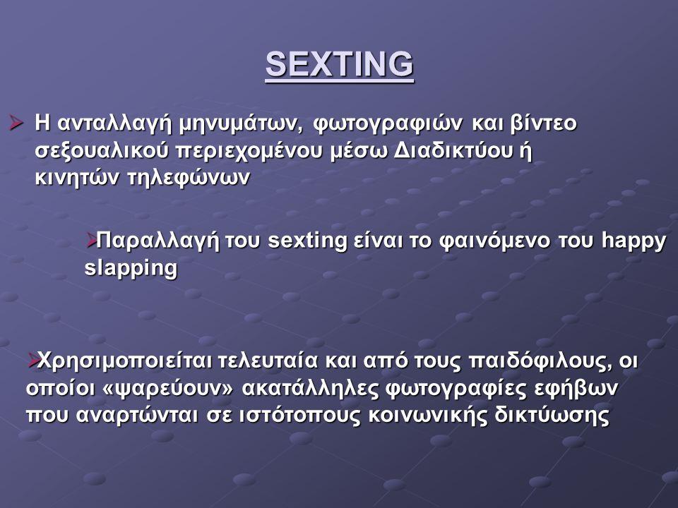 SEXTING Η ανταλλαγή μηνυμάτων, φωτογραφιών και βίντεο σεξουαλικού περιεχομένου μέσω Διαδικτύου ή κινητών τηλεφώνων.