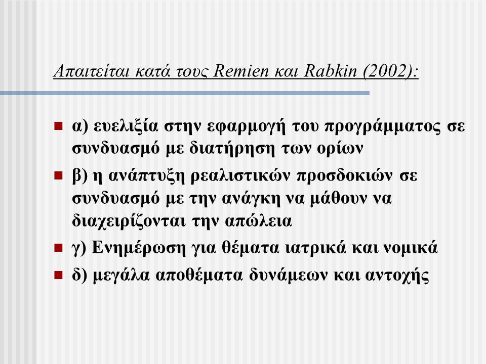 Απαιτείται κατά τους Remien και Rabkin (2002):