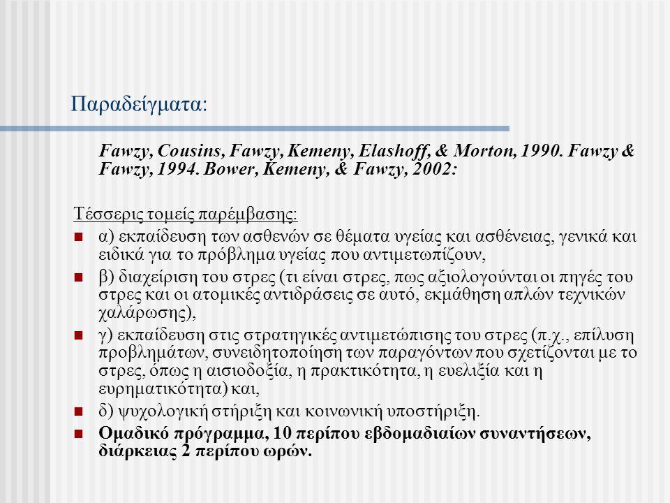 Παραδείγματα: Fawzy, Cousins, Fawzy, Kemeny, Elashoff, & Morton, 1990. Fawzy & Fawzy, 1994. Bower, Kemeny, & Fawzy, 2002: