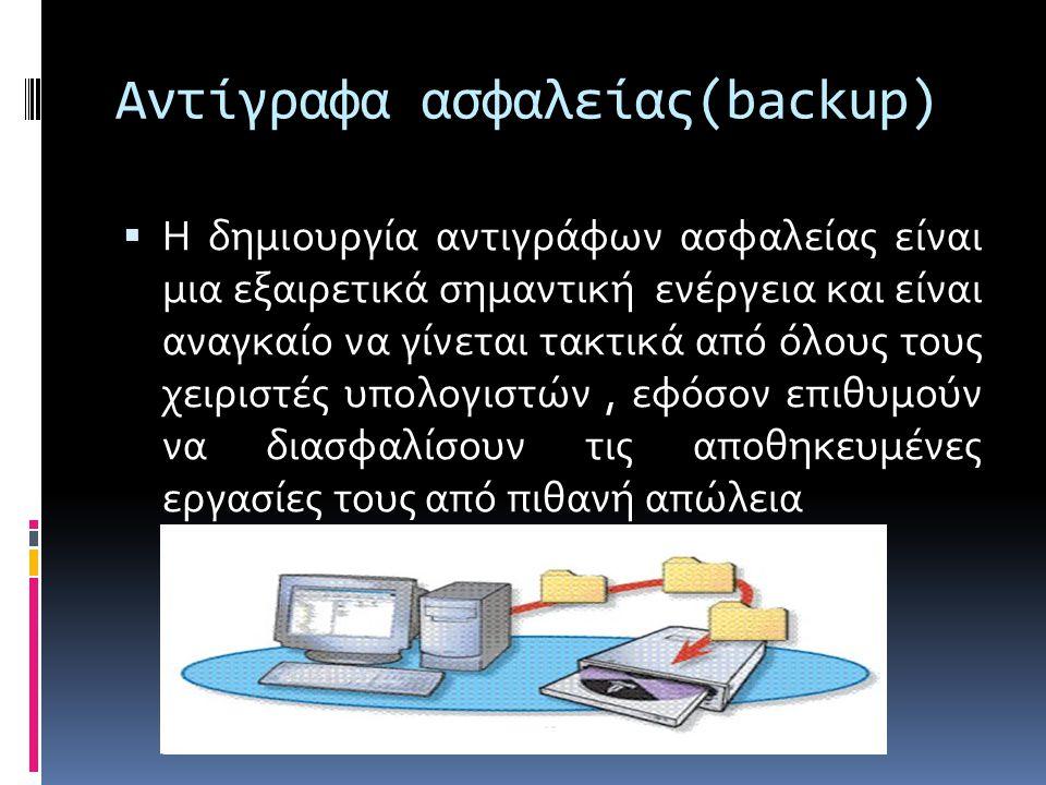 Αντίγραφα ασφαλείας(backup)