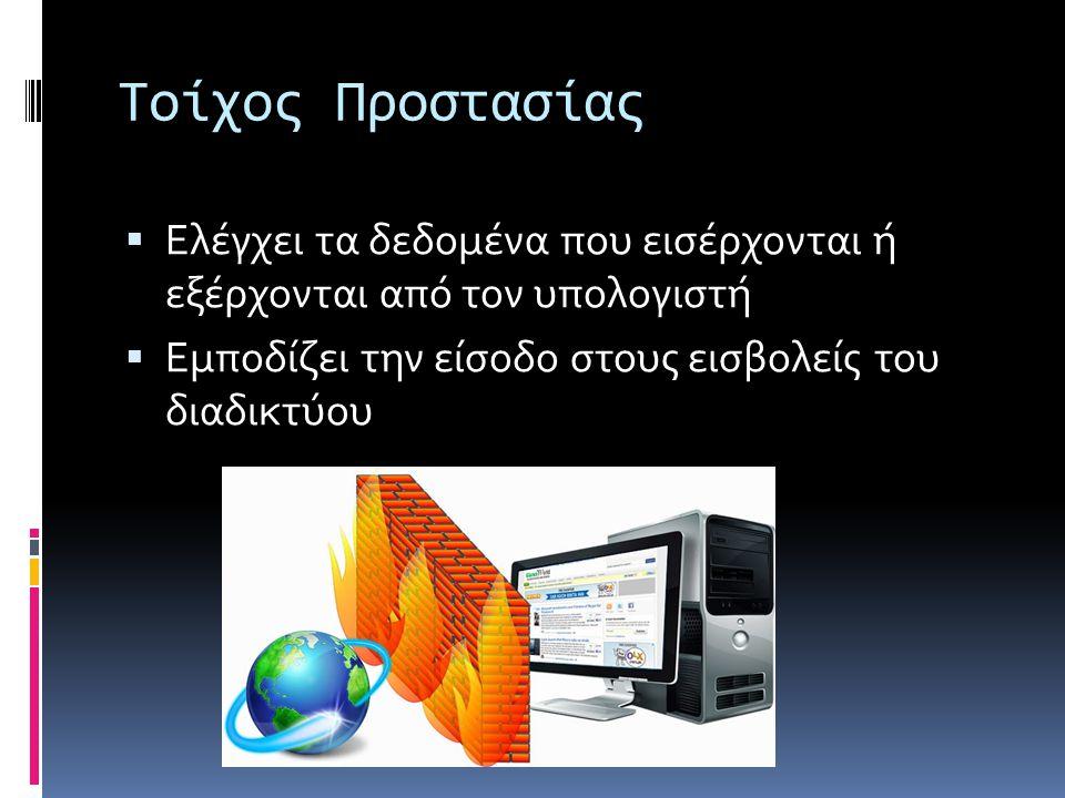 Τοίχος Προστασίας Ελέγχει τα δεδομένα που εισέρχονται ή εξέρχονται από τον υπολογιστή.