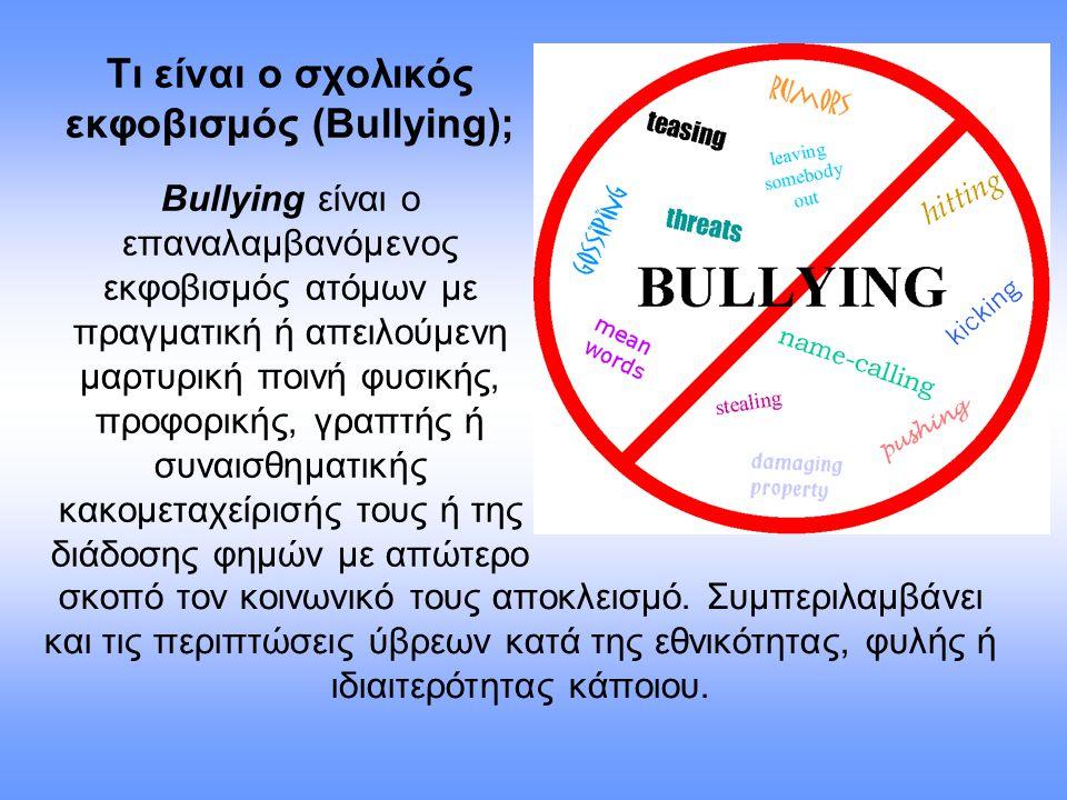 Τι είναι ο σχολικός εκφοβισμός (Βullying);
