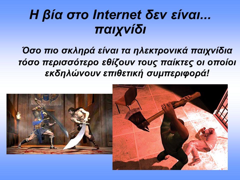Η βία στο Internet δεν είναι... παιχνίδι