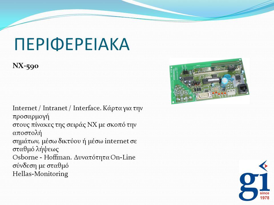 ΠΕΡΙΦΕΡΕΙΑΚΑ NX-590. Internet / Intranet / Interface. Κάρτα για την προσαρμογή. στους πίνακες της σειράς ΝΧ με σκοπό την αποστολή.