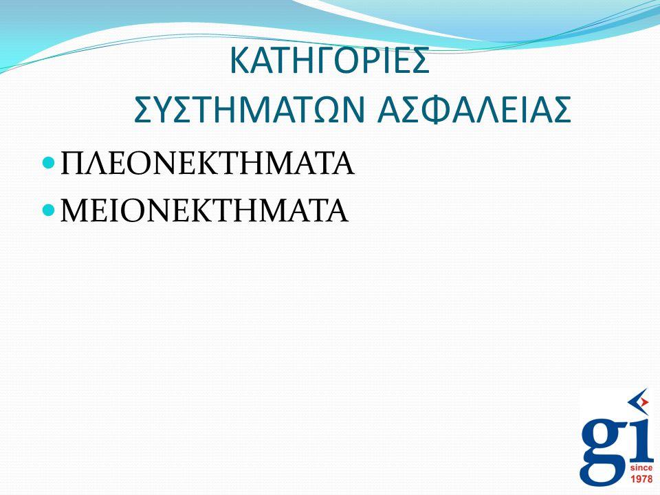 ΚΑΤΗΓΟΡΙΕΣ ΣΥΣΤΗΜΑΤΩΝ ΑΣΦΑΛΕΙΑΣ