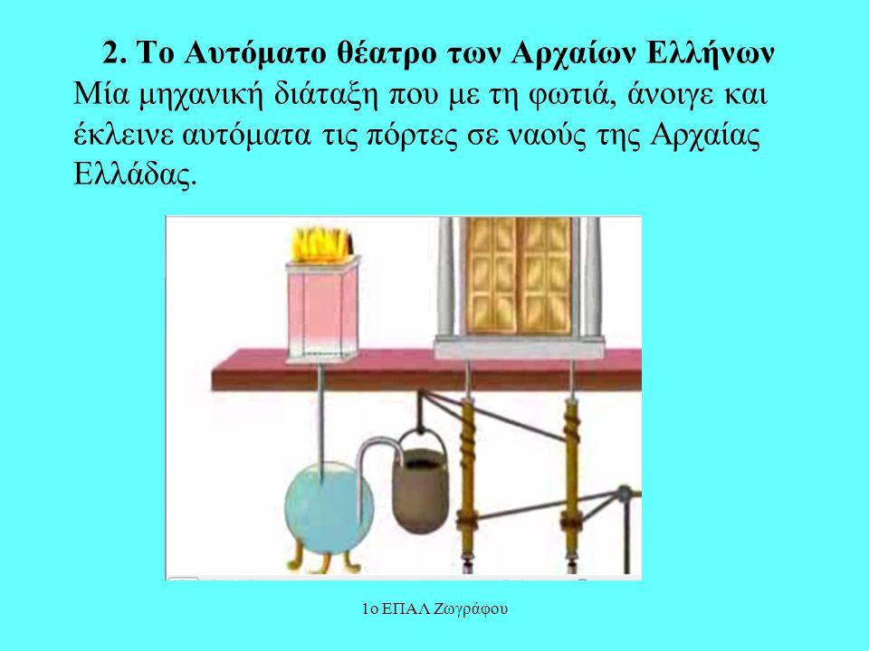 2. Το Αυτόματο θέατρο των Αρχαίων Ελλήνων Μία μηχανική διάταξη που με τη φωτιά, άνοιγε και έκλεινε αυτόματα τις πόρτες σε ναούς της Αρχαίας Ελλάδας.