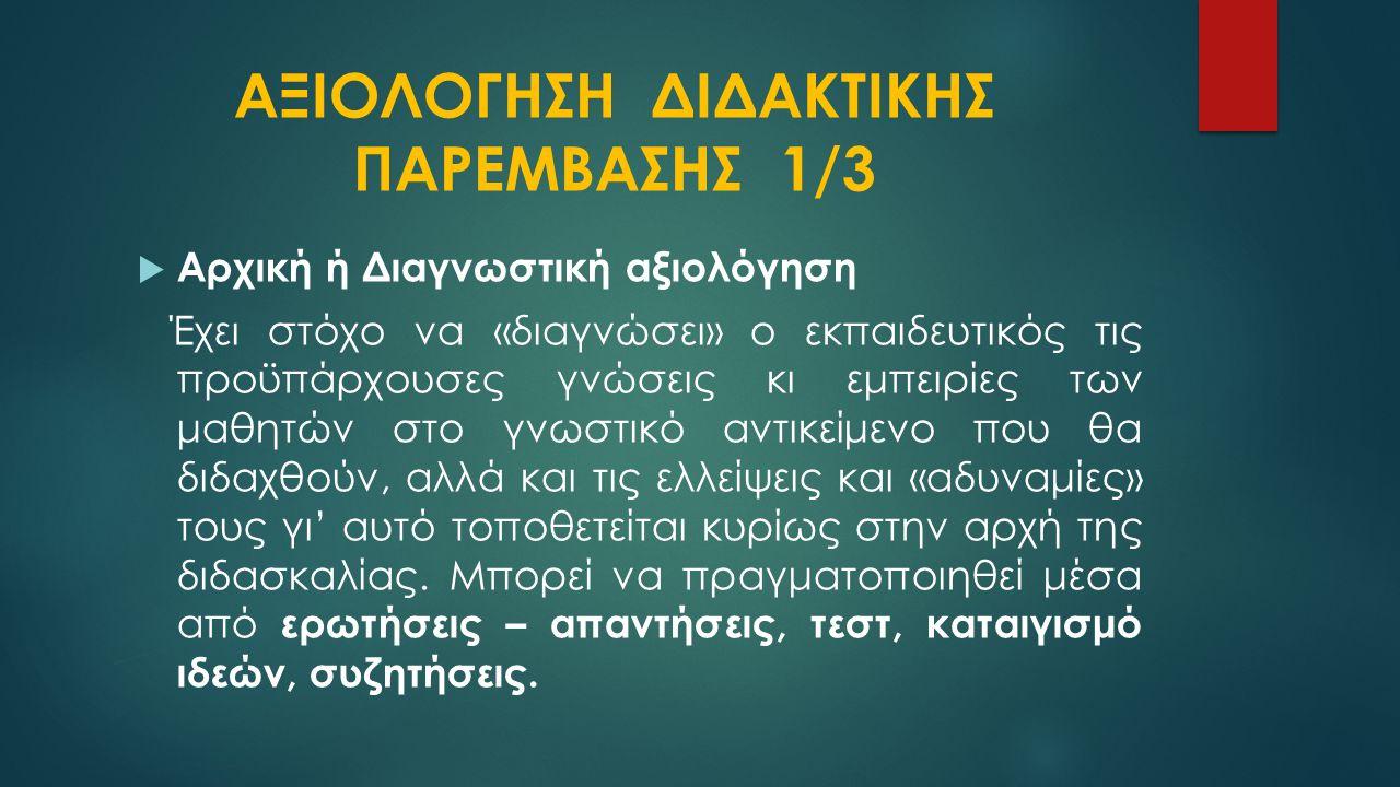 ΑΞΙΟΛΟΓΗΣΗ ΔΙΔΑΚΤΙΚΗΣ ΠΑΡΕΜΒΑΣΗΣ 1/3
