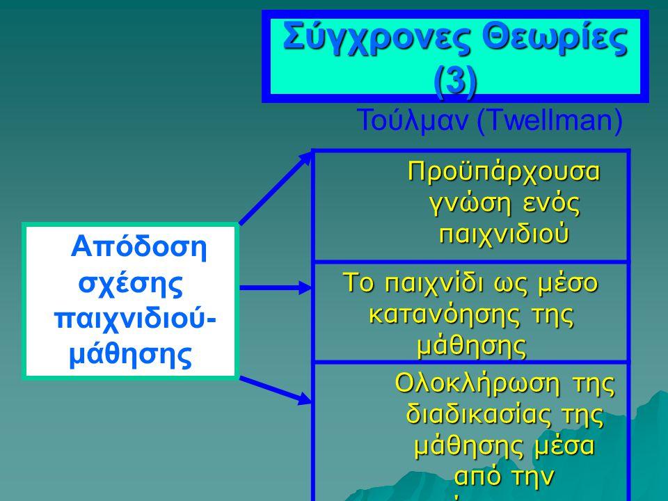 Σύγχρονες Θεωρίες (3) Τούλμαν (Τwellman) παιχνιδιού- μάθησης