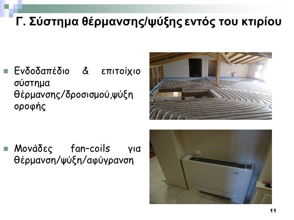 Γ. Σύστημα θέρμανσης/ψύξης εντός του κτιρίου