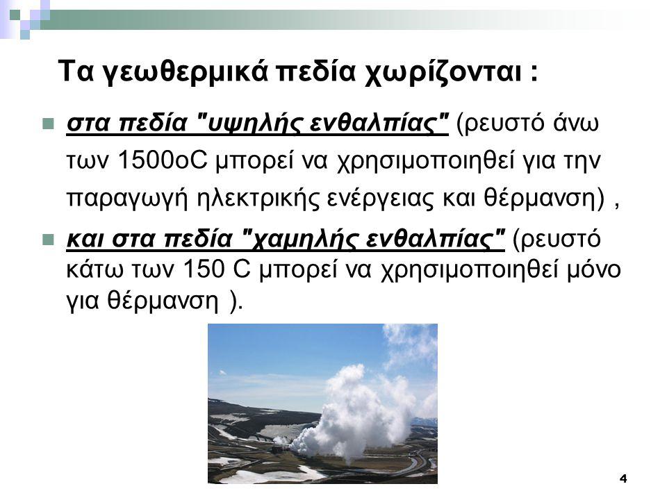 Τα γεωθερμικά πεδία χωρίζονται :