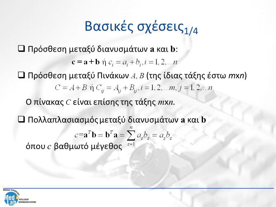 Βασικές σχέσεις1/4 Πρόσθεση μεταξύ διανυσμάτων a και b:
