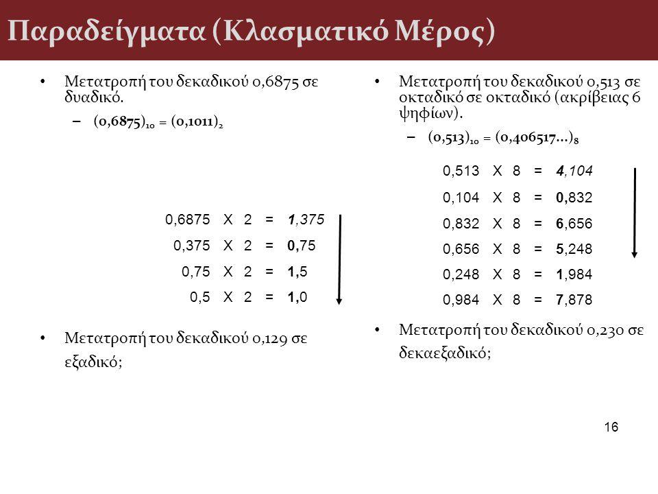 Παραδείγματα (Κλασματικό Μέρος)
