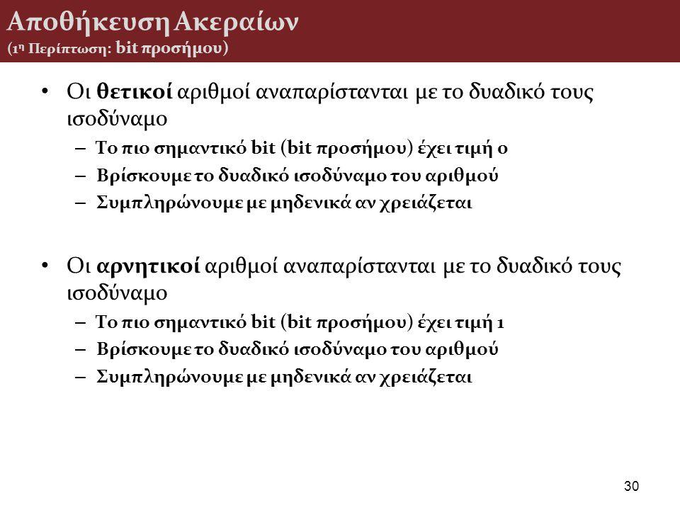 Αποθήκευση Ακεραίων (1η Περίπτωση: bit προσήμου)