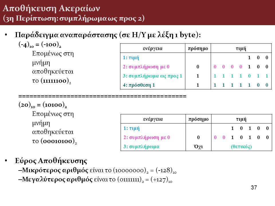 Αποθήκευση Ακεραίων (3η Περίπτωση: συμπλήρωμα ως προς 2)