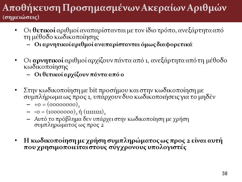 Αποθήκευση Προσημασμένων Ακεραίων Αριθμών (σημειώσεις)