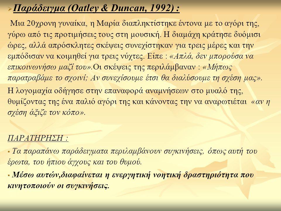 Παράδειγμα (Οatley & Duncan, 1992) :