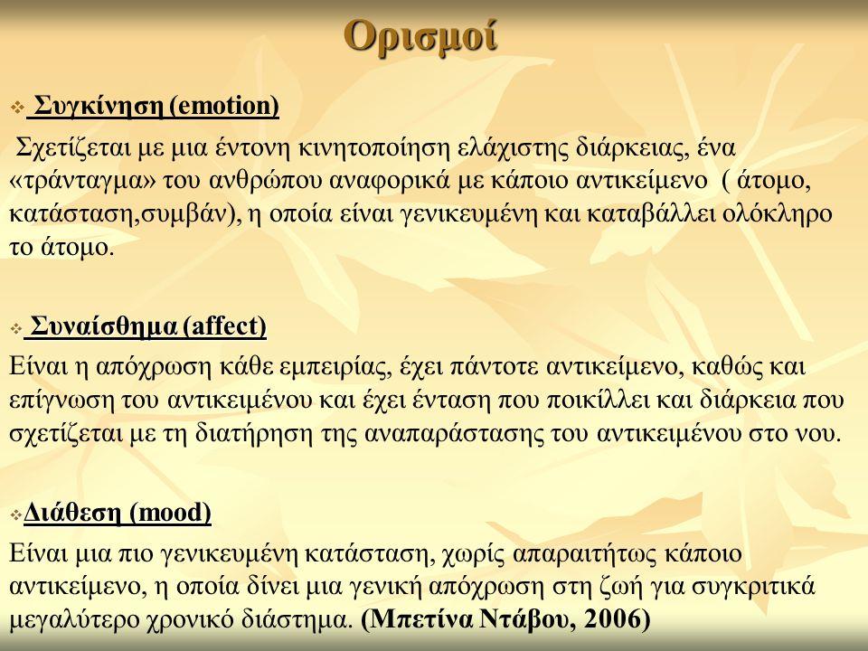 Ορισμοί Συγκίνηση (emotion)