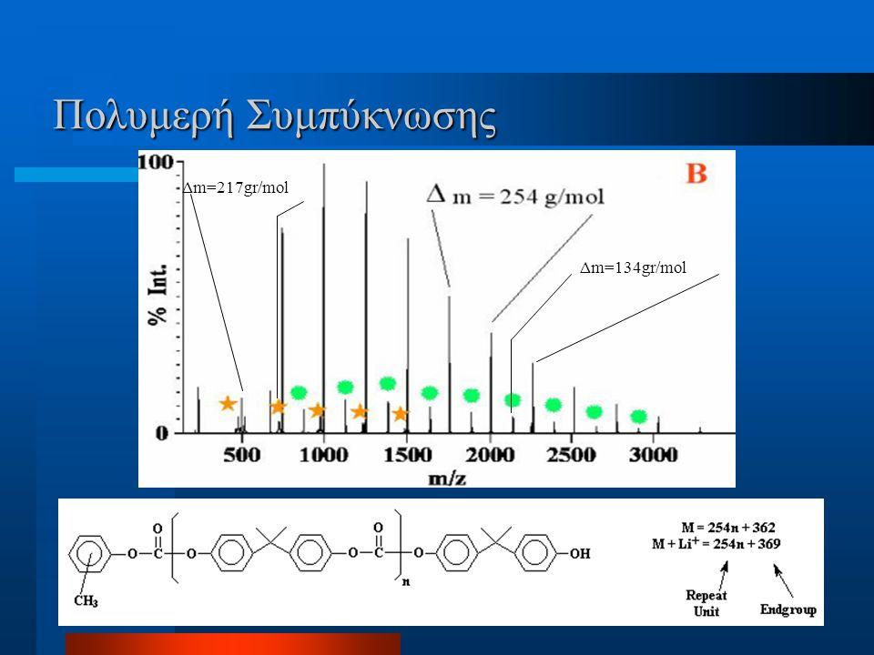 Πολυμερή Συμπύκνωσης Δm=134gr/mol Δm=217gr/mol