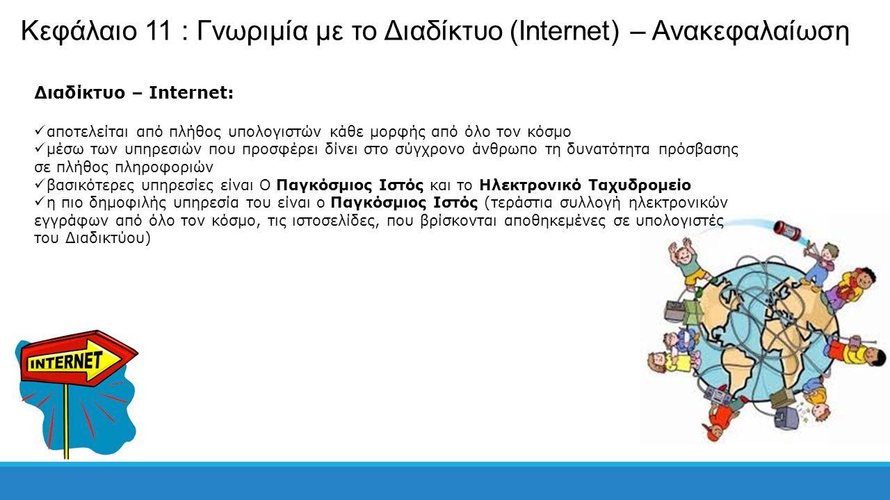 Κεφάλαιο 11 : Γνωριμία με το Διαδίκτυο (Internet) – Ανακεφαλαίωση