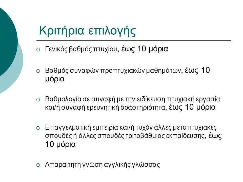 Κριτήρια επιλογής Γενικός βαθμός πτυχίου, έως 10 μόρια