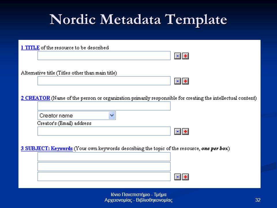 Nordic Metadata Template