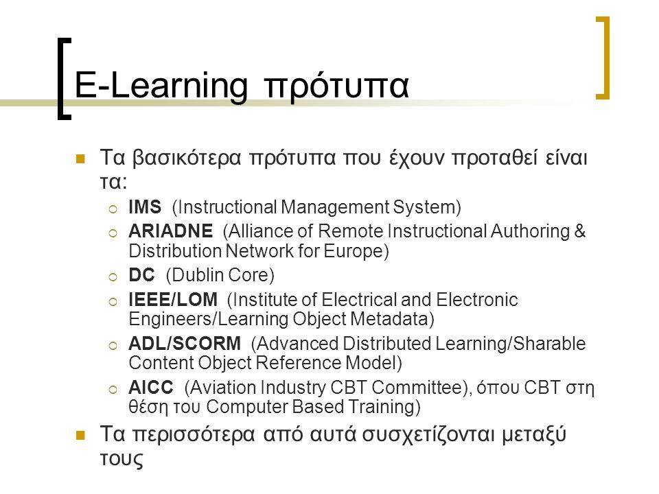 E-Learning πρότυπα Τα βασικότερα πρότυπα που έχουν προταθεί είναι τα: