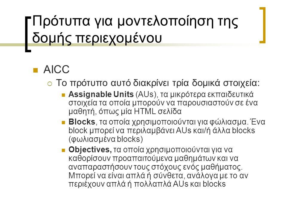 Πρότυπα για μοντελοποίηση της δομής περιεχομένου