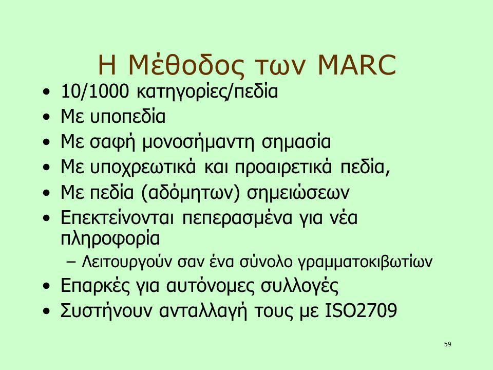 Η Μέθοδος των MARC 10/1000 κατηγορίες/πεδία Με υποπεδία