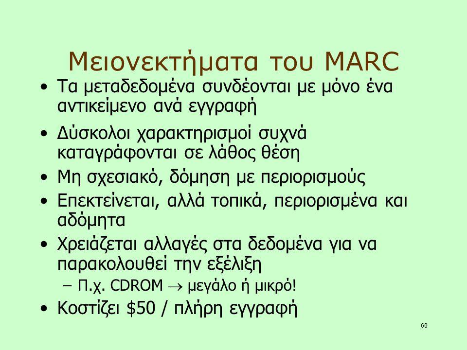 Μειονεκτήματα του MARC