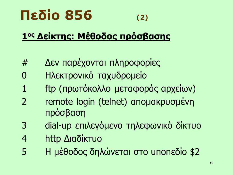 Πεδίο 856 (2) 1ος Δείκτης: Μέθοδος πρόσβασης
