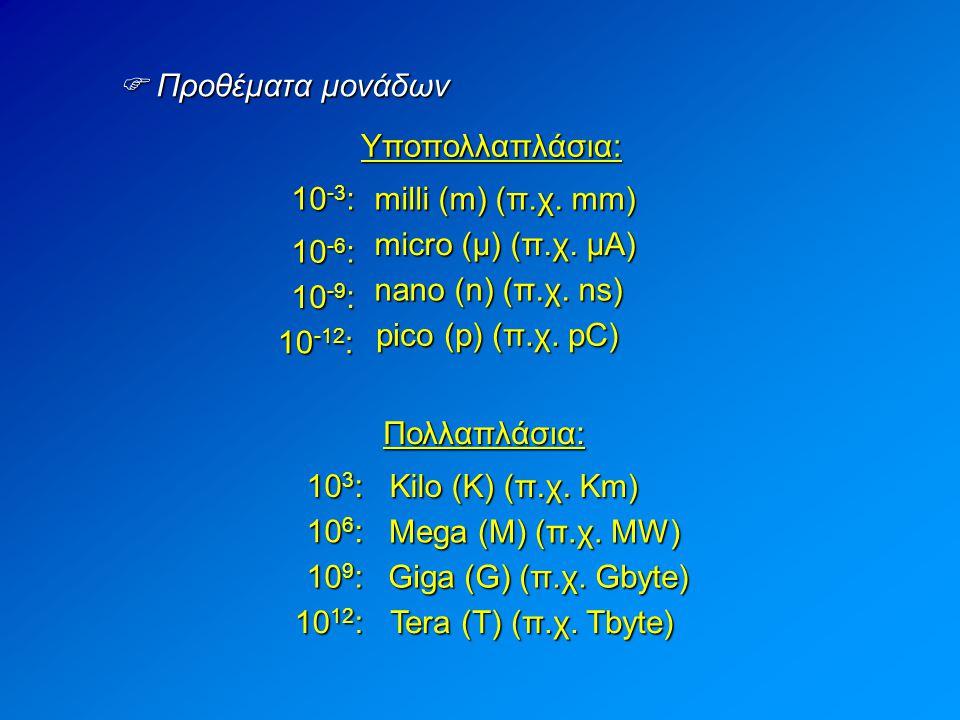  Προθέματα μονάδων Υποπολλαπλάσια: 10-3: milli (m) (π.χ. mm) micro (μ) (π.χ. μΑ) 10-6: nano (n) (π.χ. ns)