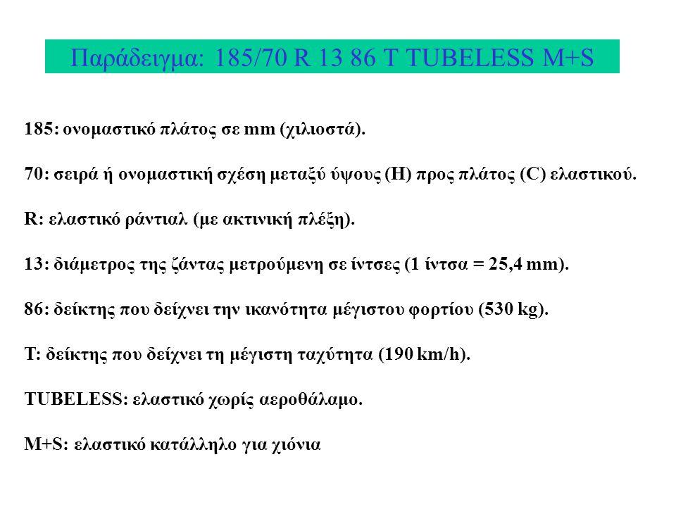Παράδειγμα: 185/70 R 13 86 Τ TUBELESS M+S