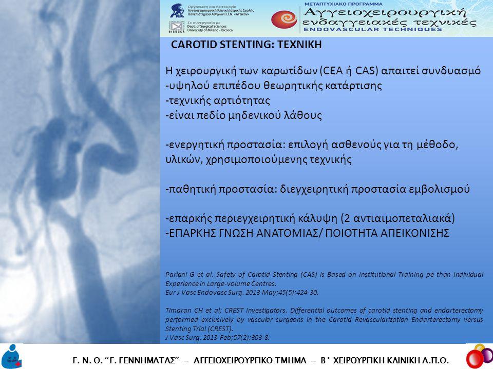 Η χειρουργική των καρωτίδων (CEA ή CAS) απαιτεί συνδυασμό