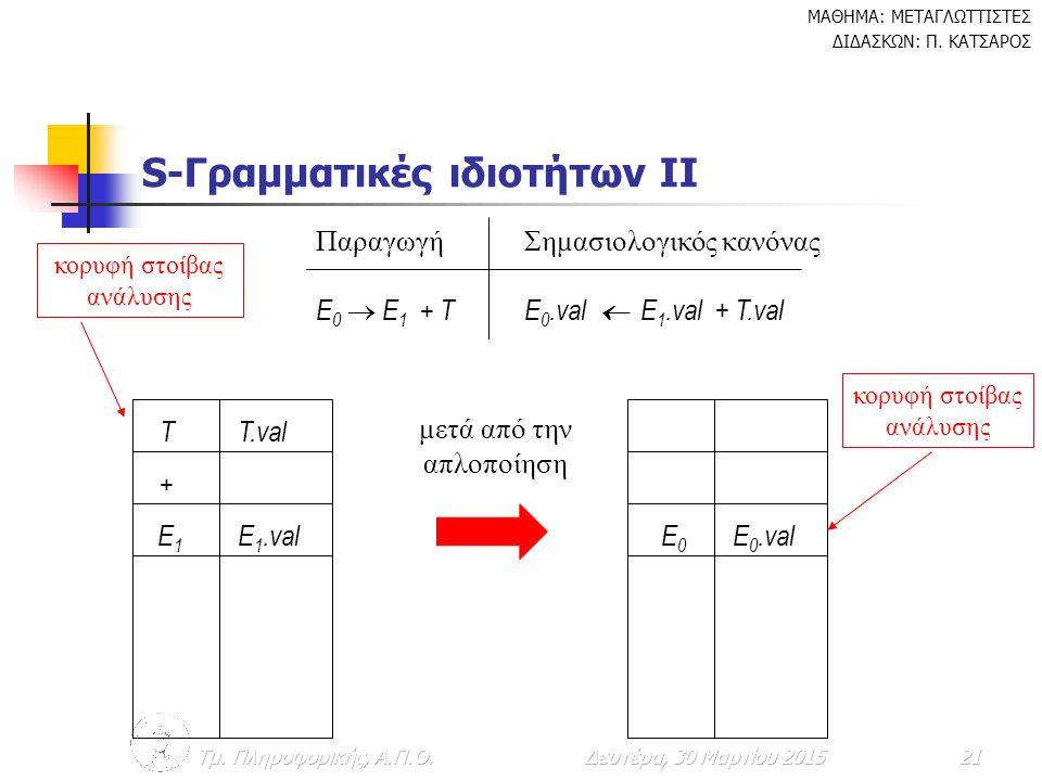 S-Γραμματικές ιδιοτήτων IΙ