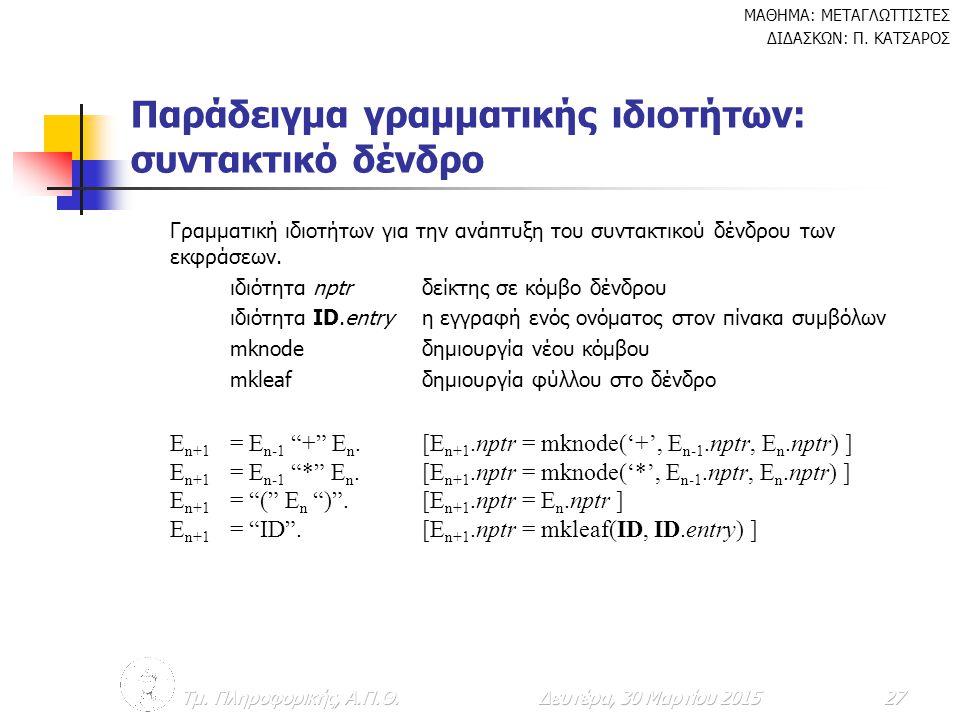 Παράδειγμα γραμματικής ιδιοτήτων: συντακτικό δένδρο