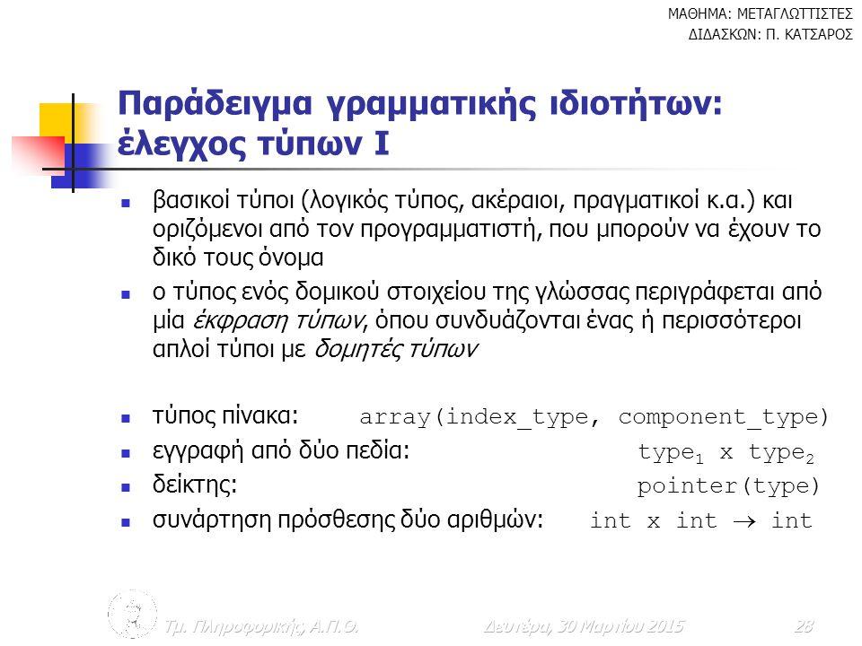 Παράδειγμα γραμματικής ιδιοτήτων: έλεγχος τύπων I