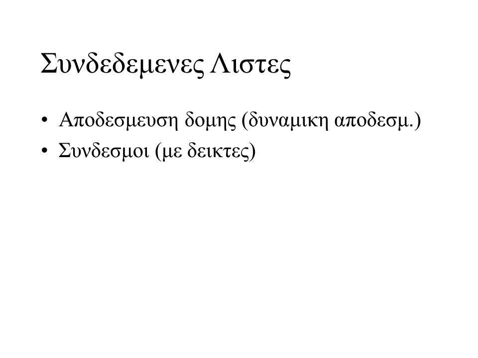Συνδεδεμενες Λιστες Aποδεσμευση δομης (δυναμικη αποδεσμ.)