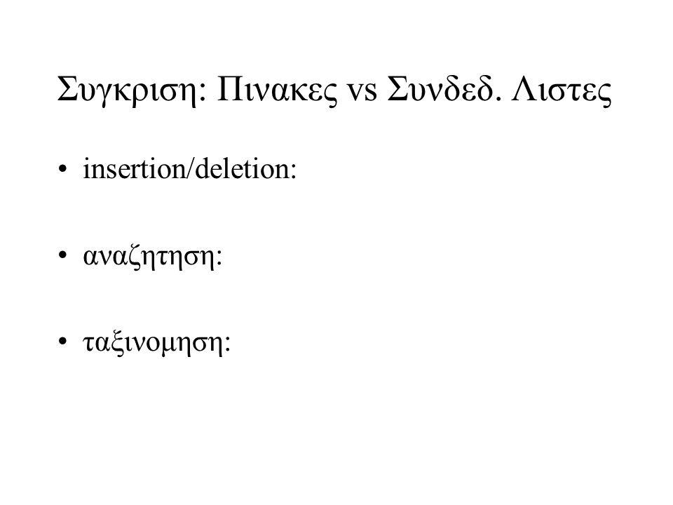 Συγκριση: Πινακες vs Συνδεδ. Λιστες