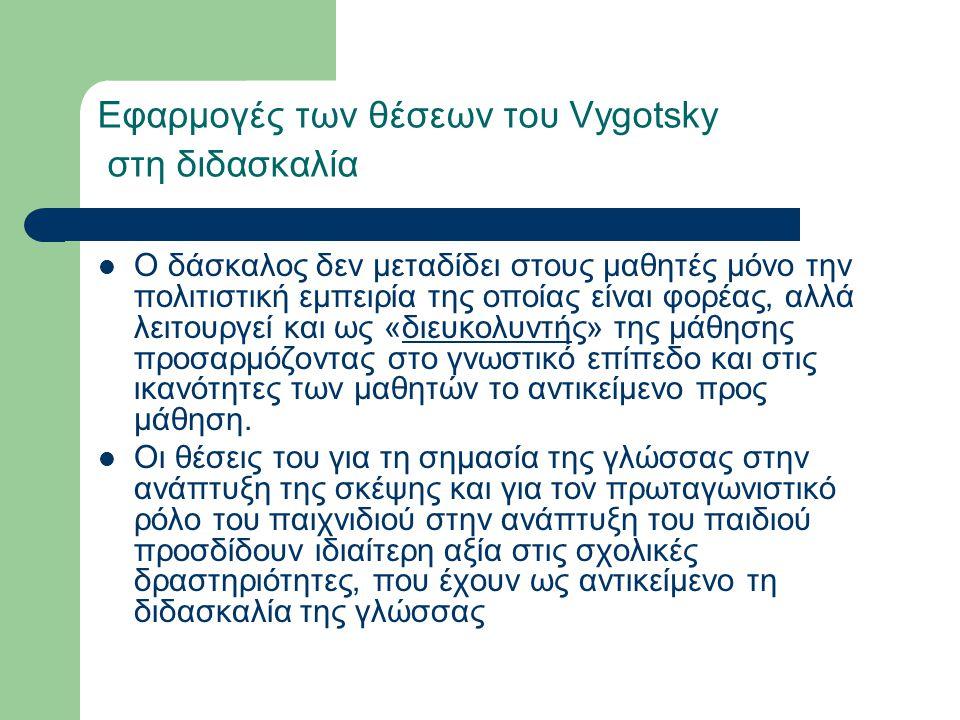 Εφαρμογές των θέσεων του Vygotsky στη διδασκαλία