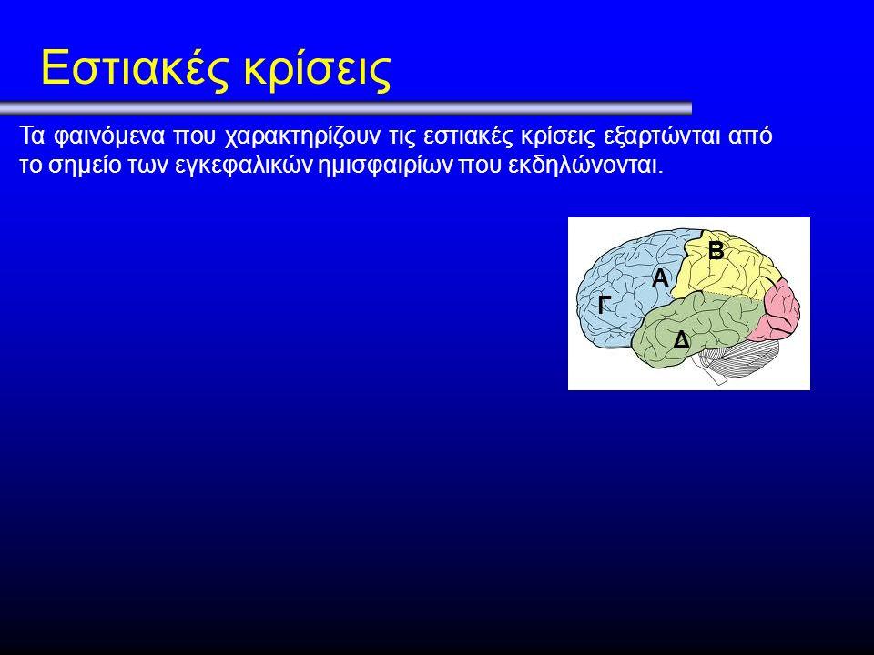 Εστιακές κρίσεις Τα φαινόμενα που χαρακτηρίζουν τις εστιακές κρίσεις εξαρτώνται από το σημείο των εγκεφαλικών ημισφαιρίων που εκδηλώνονται.