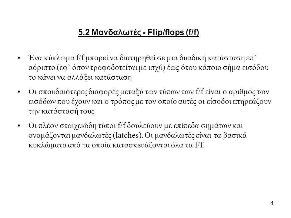 5.2 Μανδαλωτές - Flip/flops (f/f)
