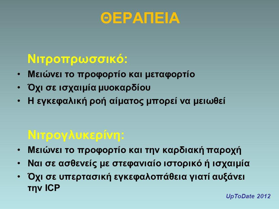 ΘΕΡΑΠΕΙΑ Νιτροπρωσσικό: Νιτρογλυκερίνη: