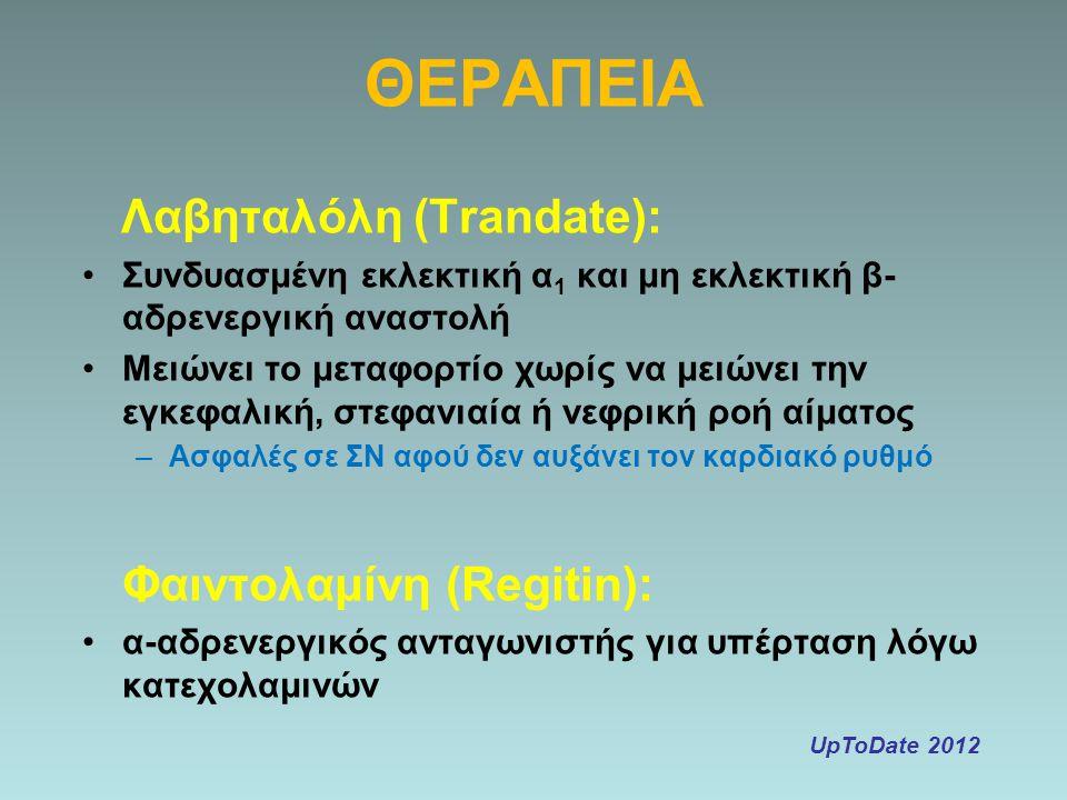 ΘΕΡΑΠΕΙΑ Λαβηταλόλη (Trandate): Φαιντολαμίνη (Regitin):