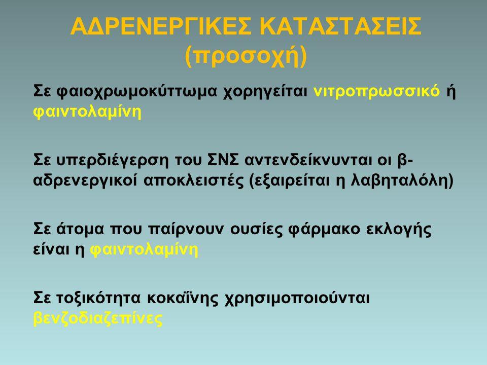 ΑΔΡΕΝΕΡΓΙΚΕΣ ΚΑΤΑΣΤΑΣΕΙΣ (προσοχή)
