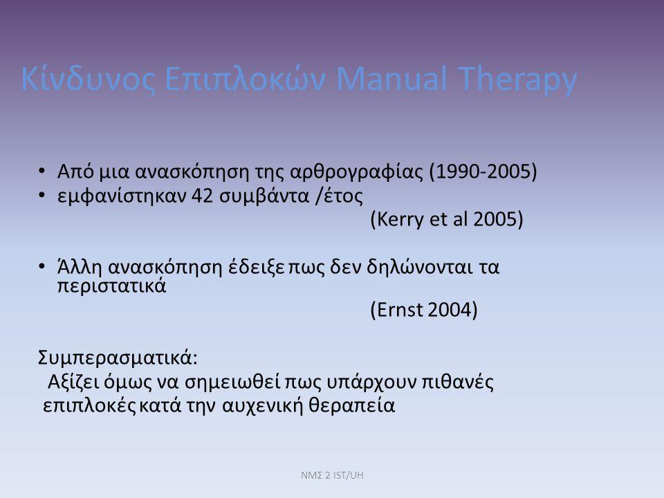Κίνδυνος Επιπλοκών Manual Therapy