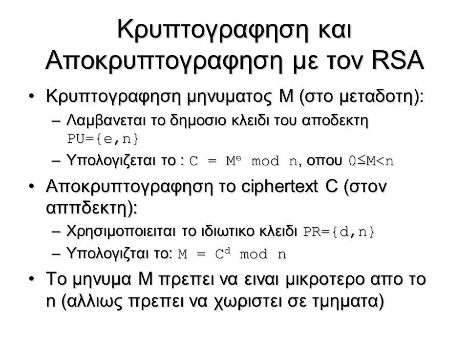 Κρυπτογραφηση και Αποκρυπτογραφηση με τον RSA