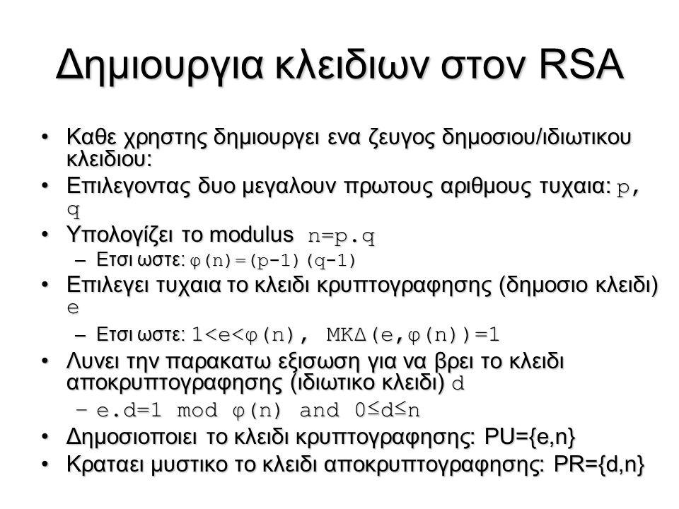 Δημιουργια κλειδιων στον RSA