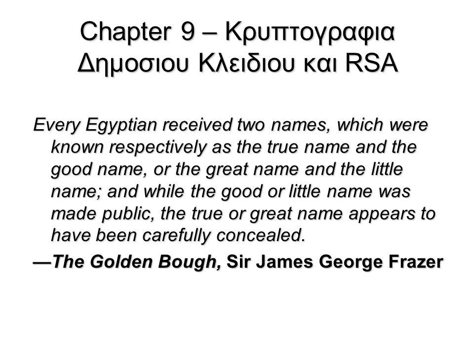 Chapter 9 – Κρυπτογραφια Δημοσιου Κλειδιου και RSA